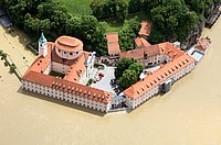 Weltenburg Abbey during the heavy storm flood in June 2013