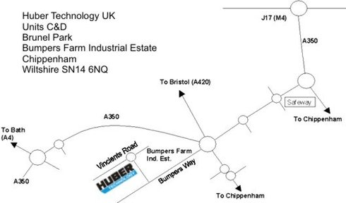map to Huber Technology UK